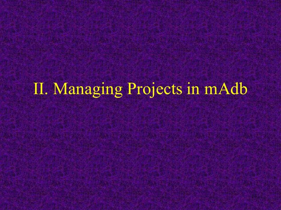 13 II. Managing Projects in mAdb