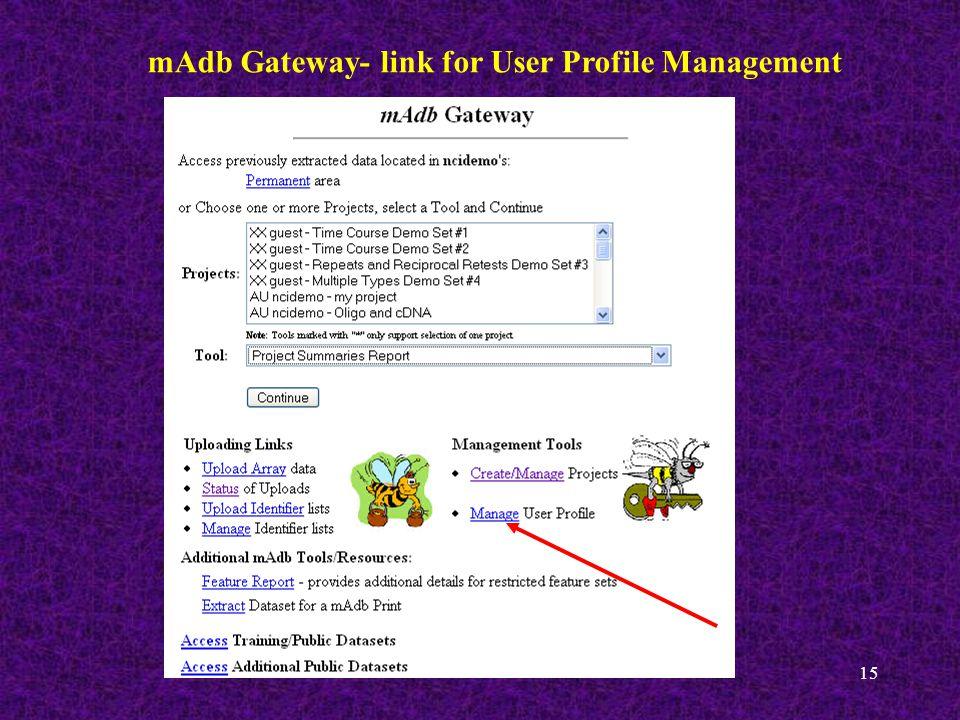 15 mAdb Gateway- link for User Profile Management