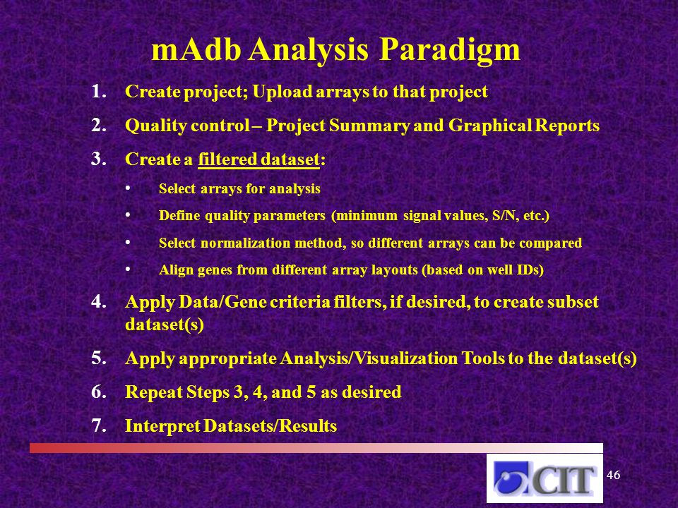 46 mAdb Analysis Paradigm 1. Create project; Upload arrays to that project 2.