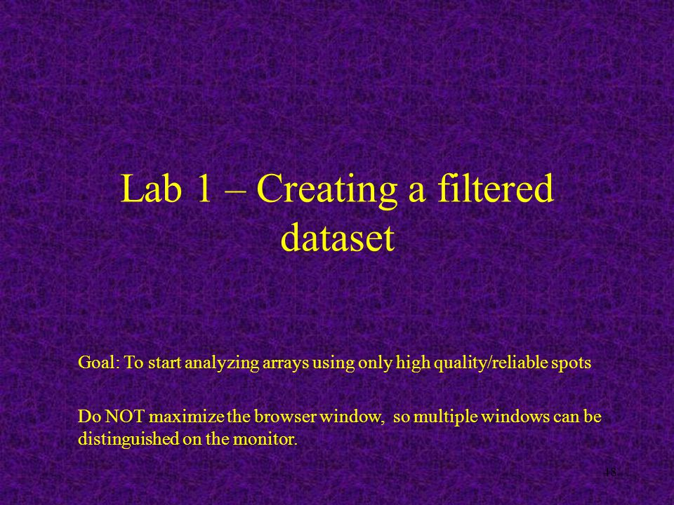 48 Lab 1 – Creating a filtered dataset Goal: To start analyzing arrays using only high quality/reliable spots Do NOT maximize the browser window, so multiple windows can be distinguished on the monitor.