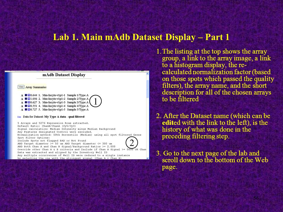 56 Lab 1. Main mAdb Dataset Display – Part 1 1 2 1.The listing at the top shows the array group, a link to the array image, a link to a histogram disp