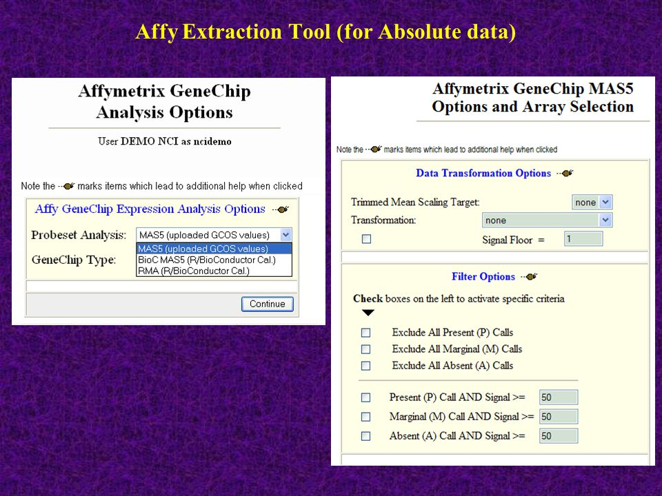 61 Affy Extraction Tool (for Absolute data)