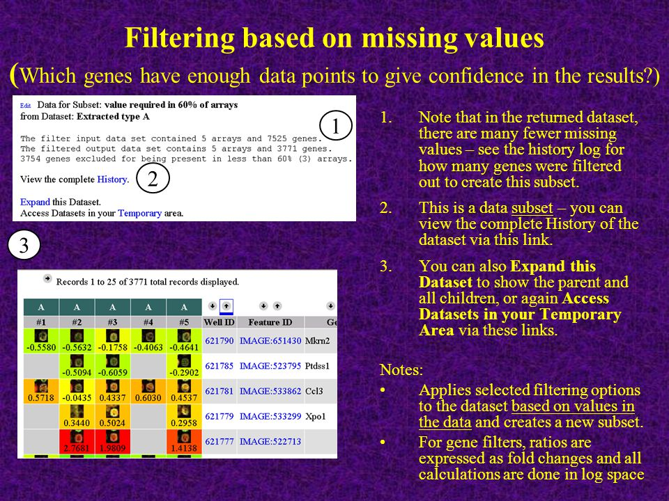 70 Filtering based on missing values ( Which genes have enough data points to give confidence in the results ) 1.Note that in the returned dataset, there are many fewer missing values – see the history log for how many genes were filtered out to create this subset.