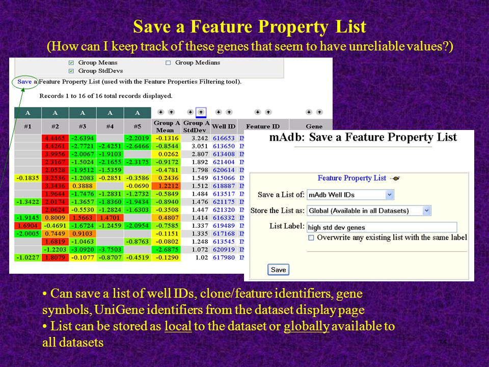75 Save a Feature Property List (How can I keep track of these genes that seem to have unreliable values?) Can save a list of well IDs, clone/feature