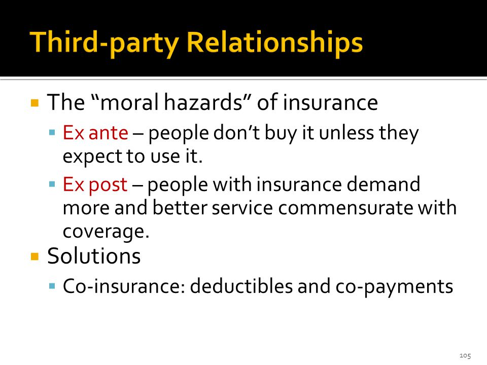  The moral hazards of insurance  Ex ante – people don't buy it unless they expect to use it.