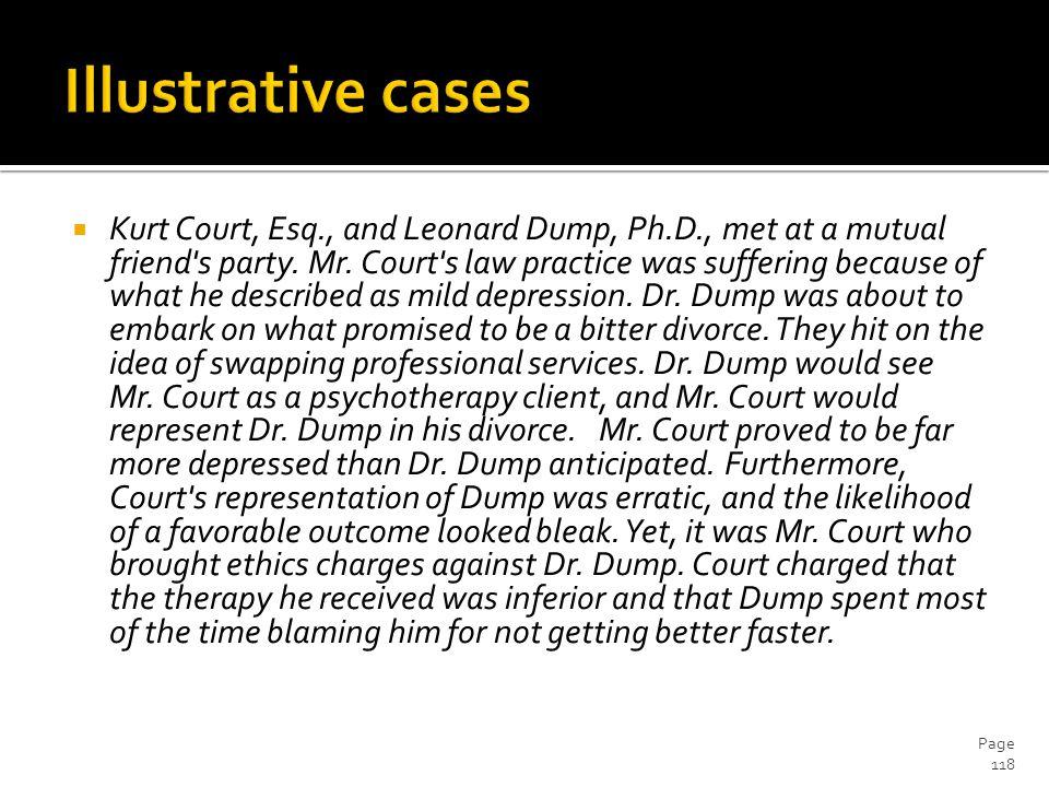  Kurt Court, Esq., and Leonard Dump, Ph.D., met at a mutual friend s party.