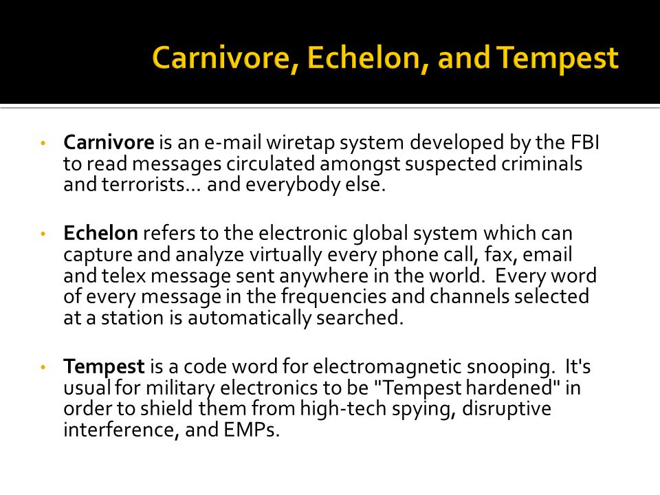 Carnivore is an e-mail wiretap system developed by the FBI to read messages circulated amongst suspected criminals and terrorists...