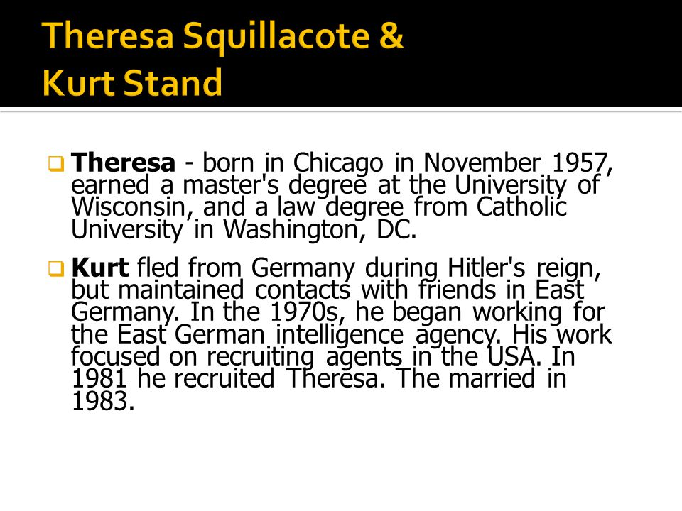 Theresa - born in Chicago in November 1957, earned a master s degree at the University of Wisconsin, and a law degree from Catholic University in Washington, DC.
