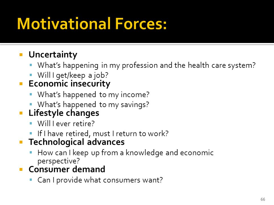  Uncertainty  What's happening in my profession and the health care system.
