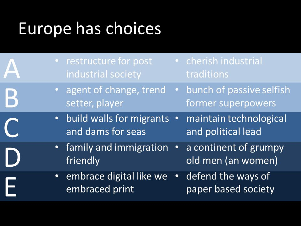 B C D E A Europe has choices restructure for post industrial society agent of change, trend setter, player build walls for migrants and dams for seas family and immigration friendly embrace digital like we embraced print cherish industrial traditions bunch of passive selfish former superpowers maintain technological and political lead a continent of grumpy old men (an women) defend the ways of paper based society