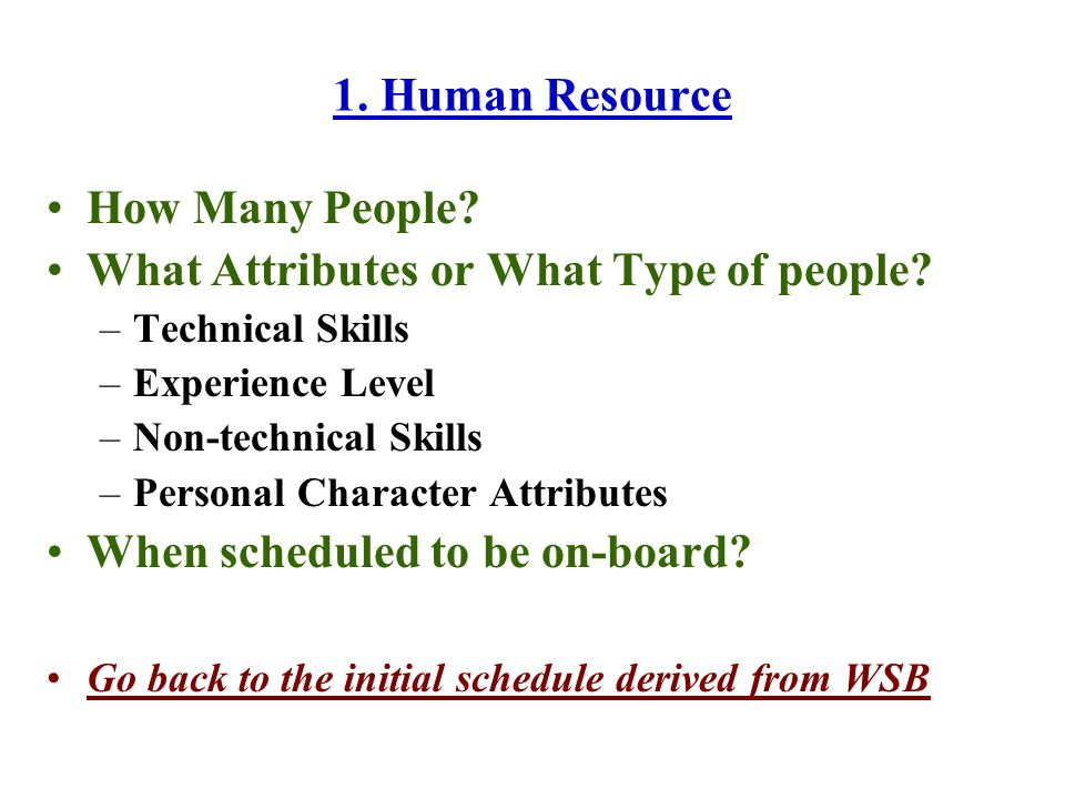 1. Human Resource How Many People. What Attributes or What Type of people.