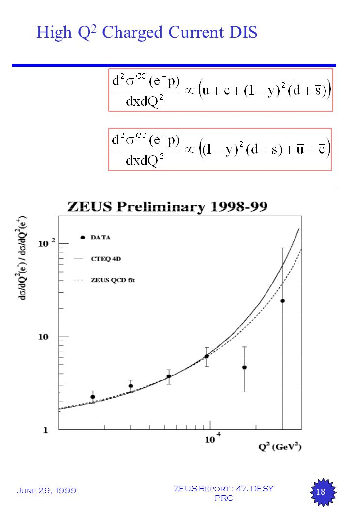 June 29, 1999 ZEUS Report : 47. DESY PRC 18 High Q 2 Charged Current DIS
