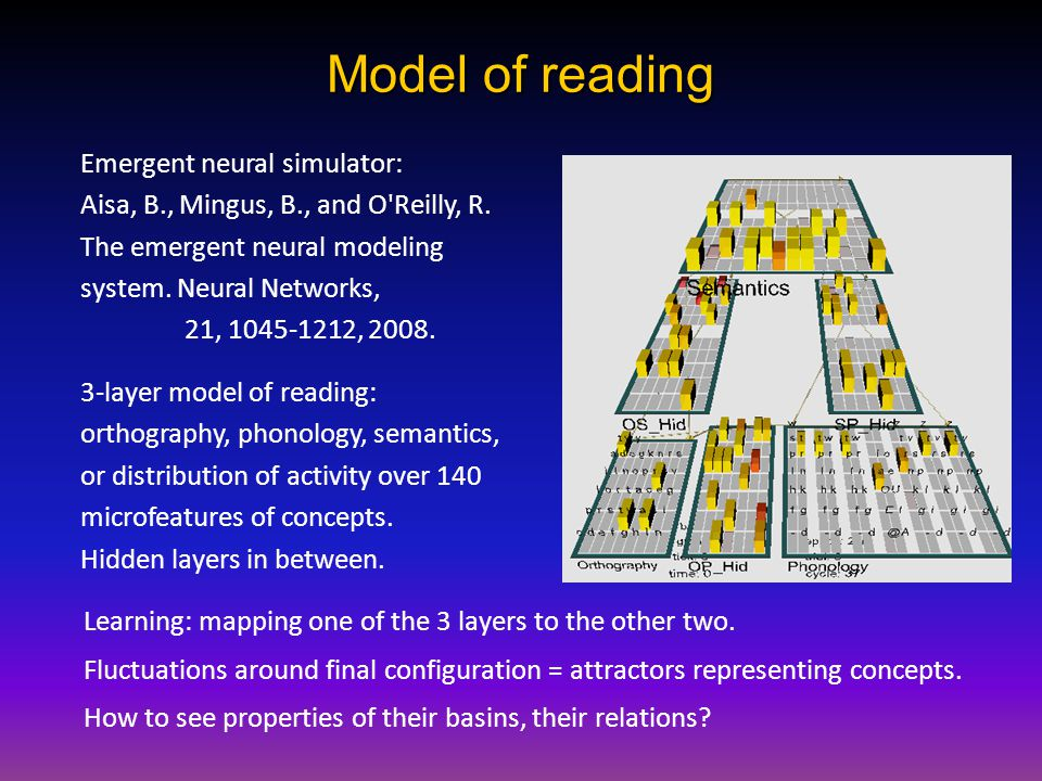 Model of reading Learning: mapping one of the 3 layers to the other two.