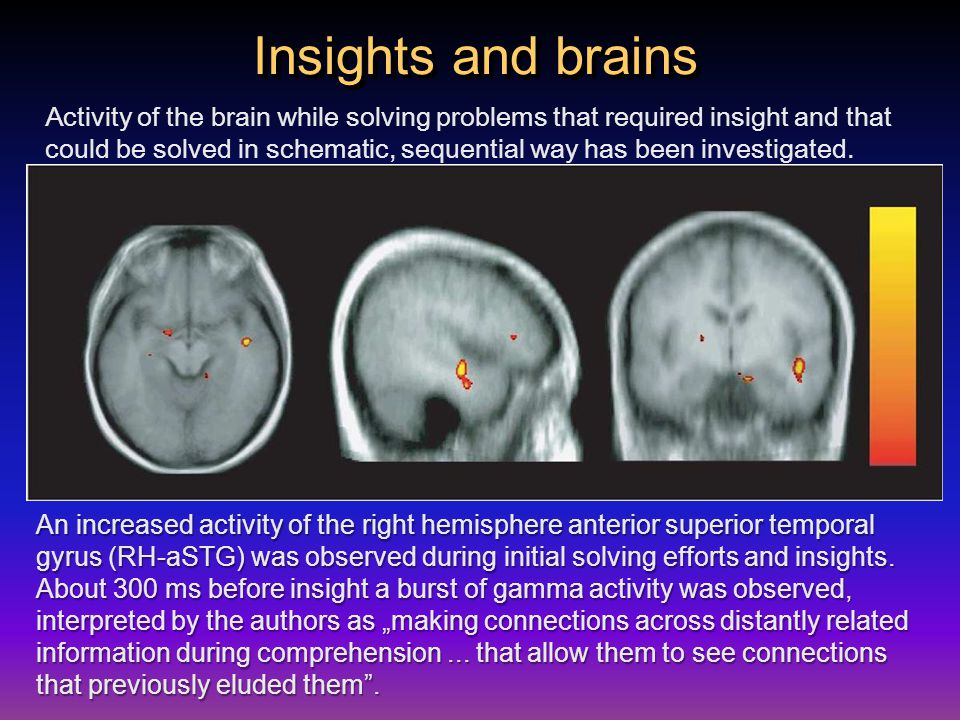 Insights and brains Activity of the brain while solving problems that required insight and that could be solved in schematic, sequential way has been investigated.