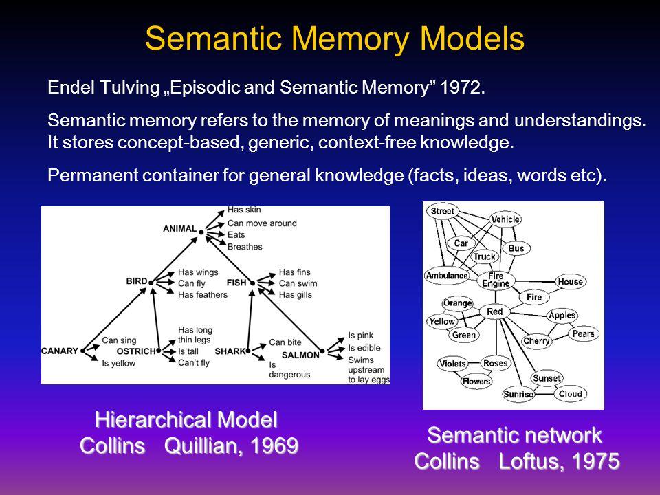 """Semantic Memory Models Endel Tulving """"Episodic and Semantic Memory 1972."""