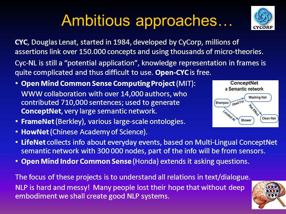 Ambitious approaches… CYC, Douglas Lenat, started in 1984, developed by CyCorp, millions of assertions link over 150.000 concepts and using thousands of micro-theories.