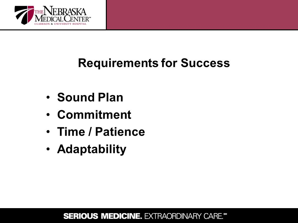 Requirements for Success Sound Plan Commitment Time / Patience Adaptability