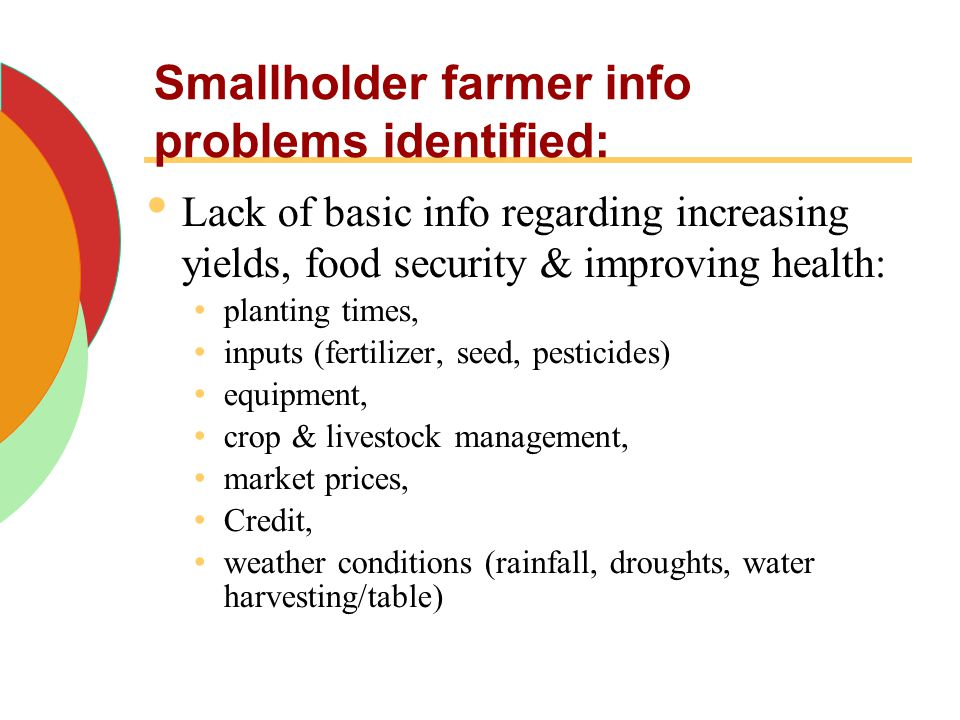 Smallholder farmer info problems identified: Lack of basic info regarding increasing yields, food security & improving health: planting times, inputs