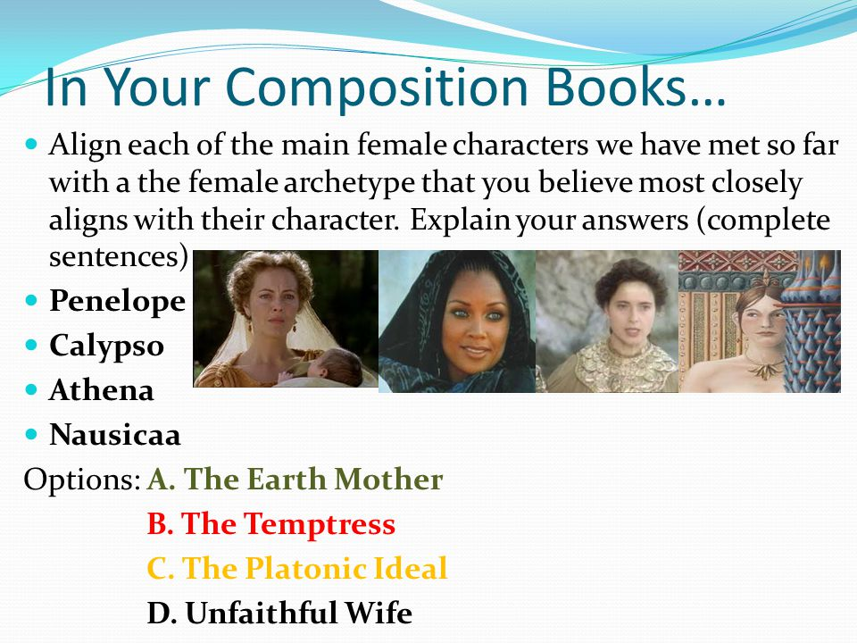 In Your Composition Books… Align each of the main female characters we have met so far with a the female archetype that you believe most closely align