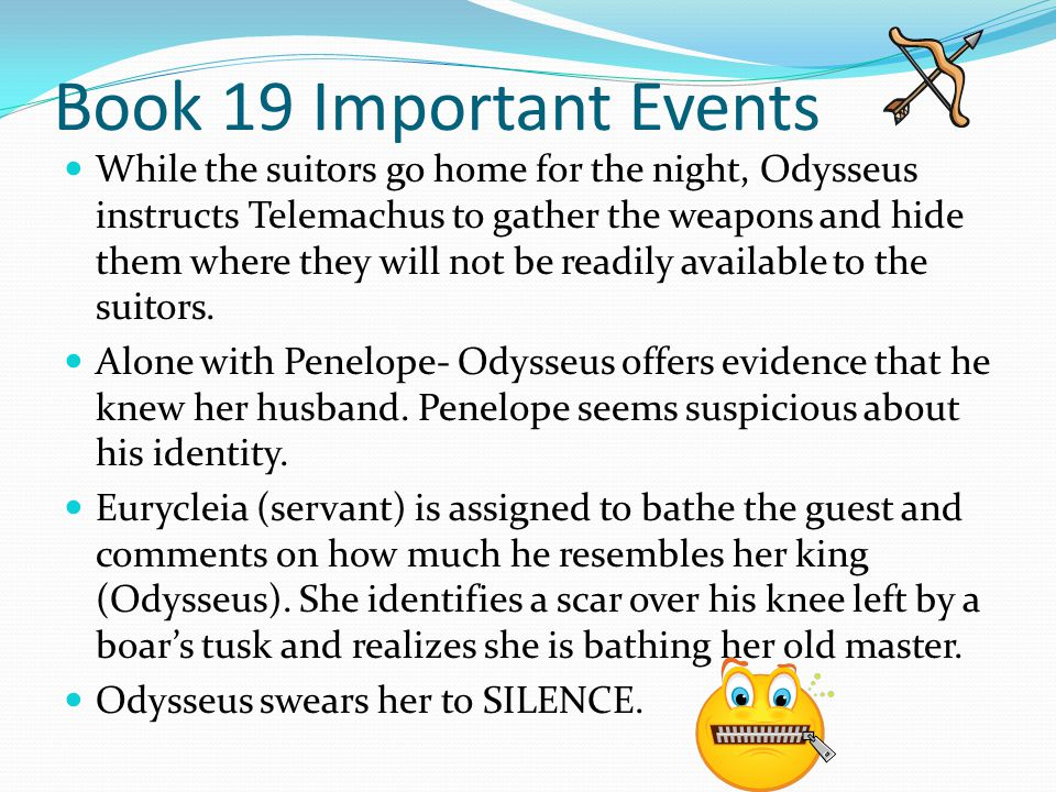 Book 19 Important Events While the suitors go home for the night, Odysseus instructs Telemachus to gather the weapons and hide them where they will no