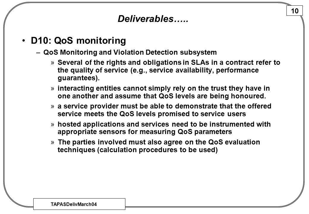 TAPASDelivMarch04 10 Deliverables…..