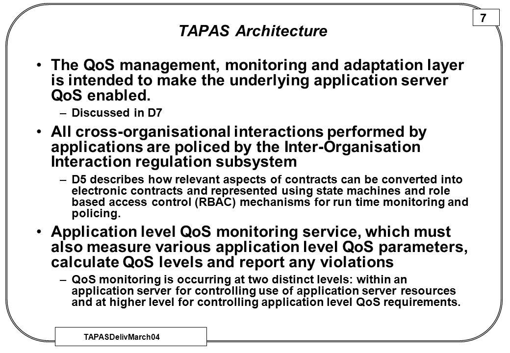 TAPASDelivMarch04 8 Deliverables…..