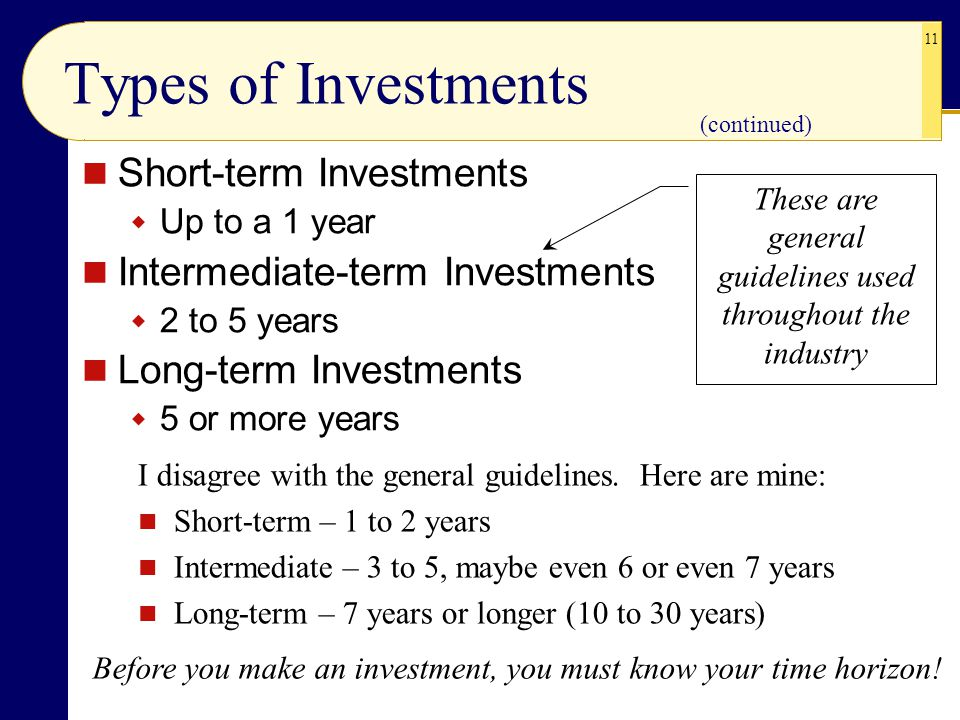 11 Types of Investments Short-term Investments  Up to a 1 year Intermediate-term Investments  2 to 5 years Long-term Investments  5 or more years (