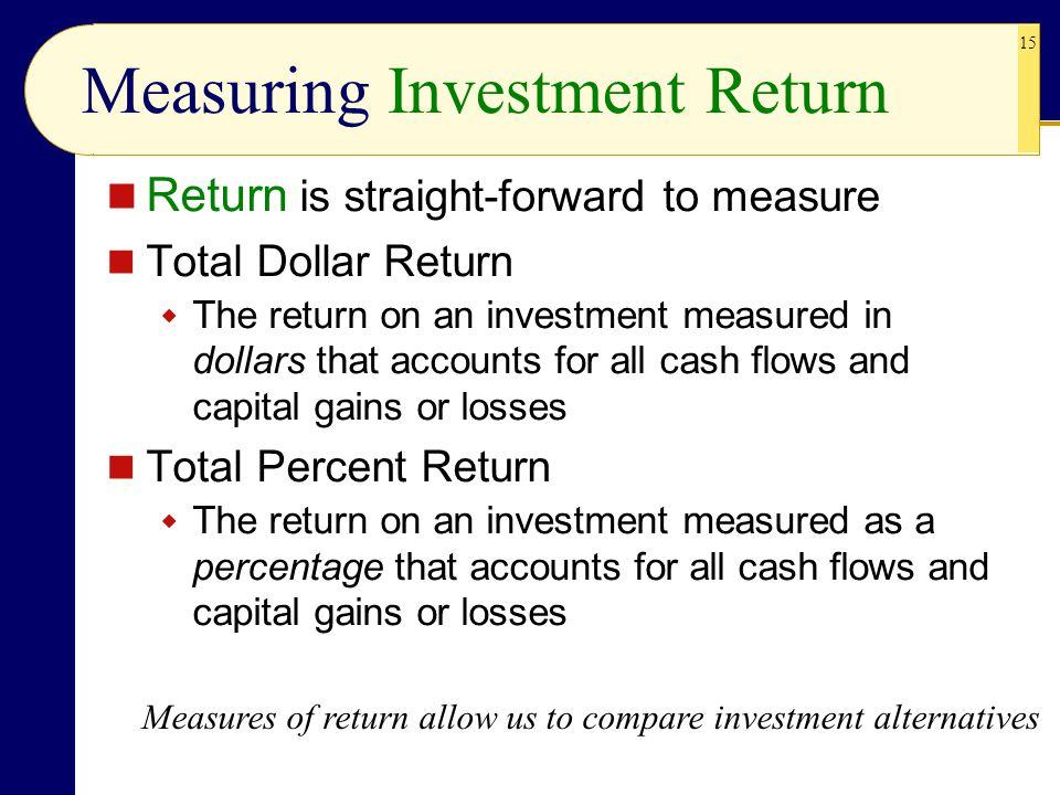 15 Measuring Investment Return Return is straight-forward to measure Total Dollar Return  The return on an investment measured in dollars that accoun