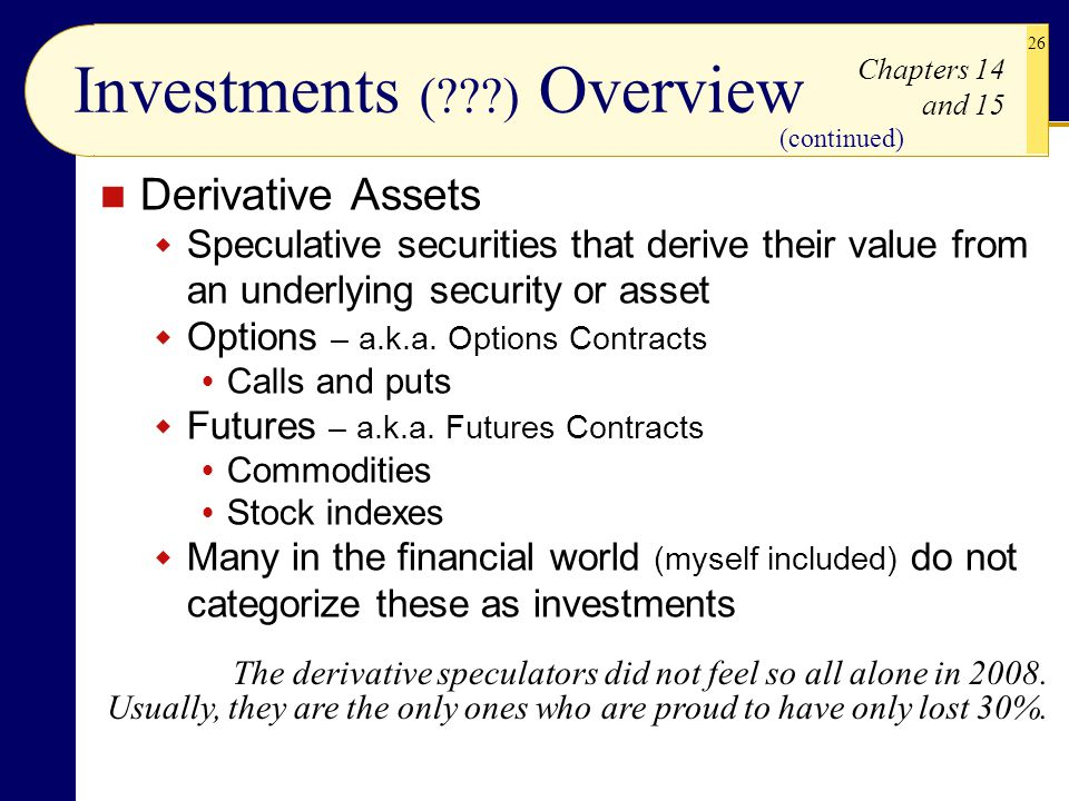 26 Derivative Assets  Speculative securities that derive their value from an underlying security or asset  Options – a.k.a. Options Contracts  Call