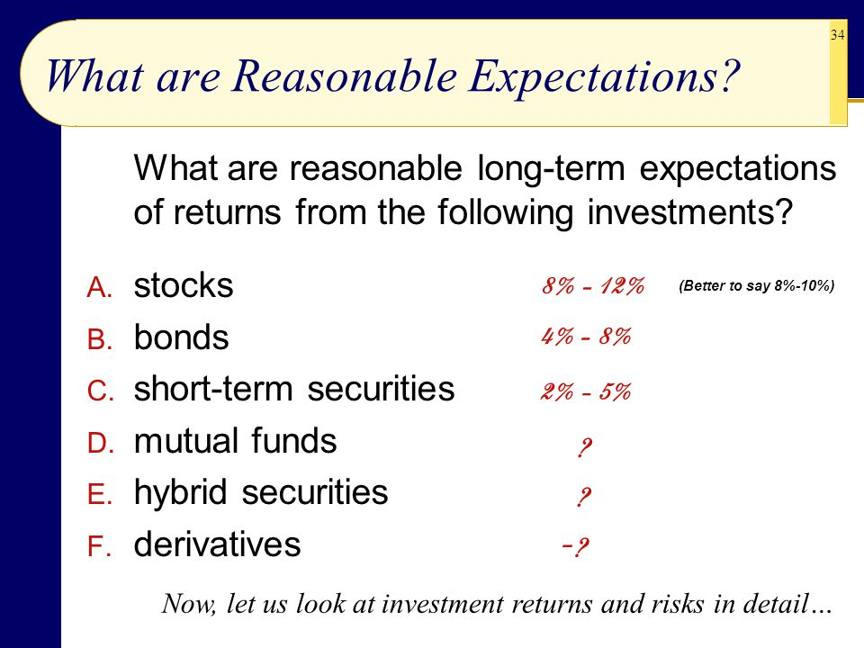 34 What are Reasonable Expectations? What are reasonable long-term expectations of returns from the following investments? A. stocks B. bonds C. short