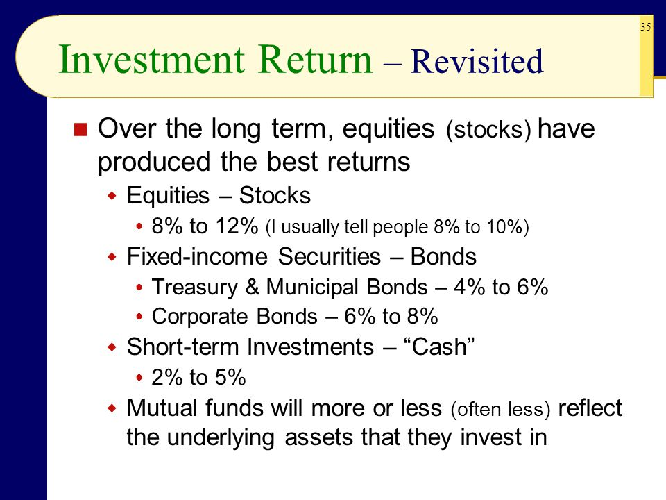 35 Investment Return – Revisited Over the long term, equities (stocks) have produced the best returns  Equities – Stocks  8% to 12% (I usually tell