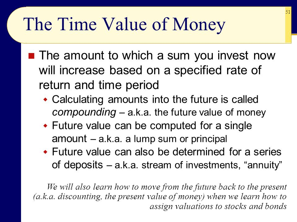 51 The Time Value of Money The amount to which a sum you invest now will increase based on a specified rate of return and time period  Calculating am