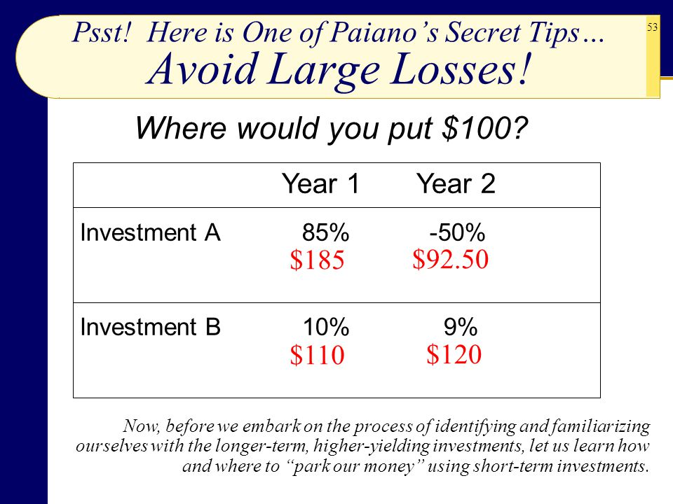 53 Psst! Here is One of Paiano's Secret Tips… Avoid Large Losses! Where would you put $100? Now, before we embark on the process of identifying and fa