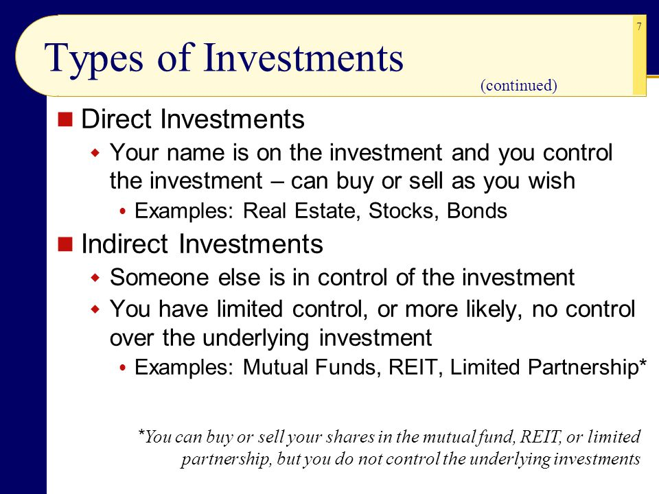 7 Types of Investments Direct Investments  Your name is on the investment and you control the investment – can buy or sell as you wish  Examples: Re