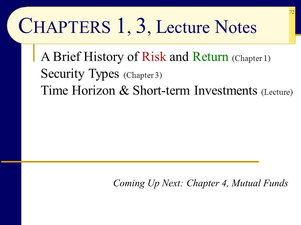 72 Coming Up Next: Chapter 4, Mutual Funds C HAPTERS 1, 3, L ecture N otes A Brief History of Risk and Return (Chapter 1) Security Types (Chapter 3) T