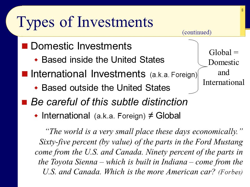 8 Types of Investments Domestic Investments  Based inside the United States International Investments (a.k.a. Foreign)  Based outside the United Sta