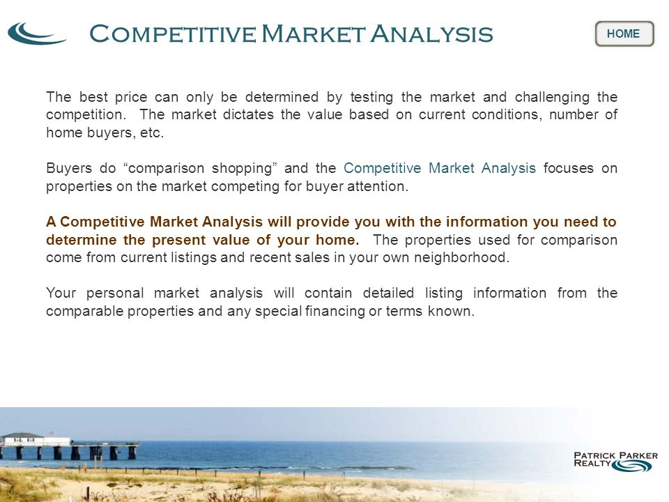 Competitive Market Analysis HOME The best price can only be determined by testing the market and challenging the competition.