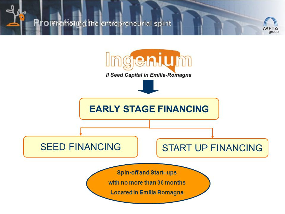 SEED FINANCING EARLY STAGE FINANCING START UP FINANCING Spin-off and Start–ups with no more than 36 months Located in Emilia Romagna