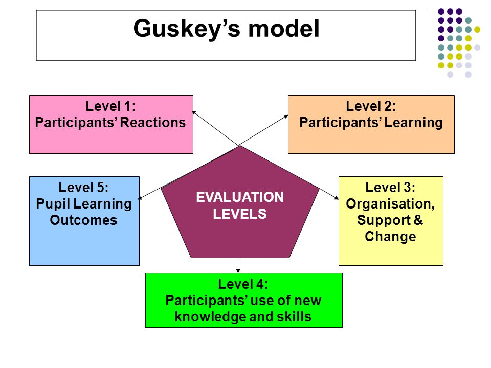 Level 1: Participants' Reactions Level 2: Participants' Learning Level 5: Pupil Learning Outcomes Level 4: Participants' use of new knowledge and skills Level 3: Organisation, Support & Change EVALUATION LEVELS Guskey's model