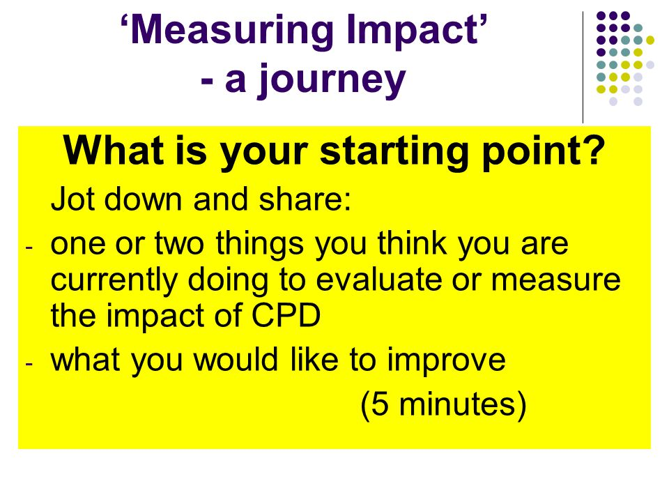 Measuring Impact is a journey.