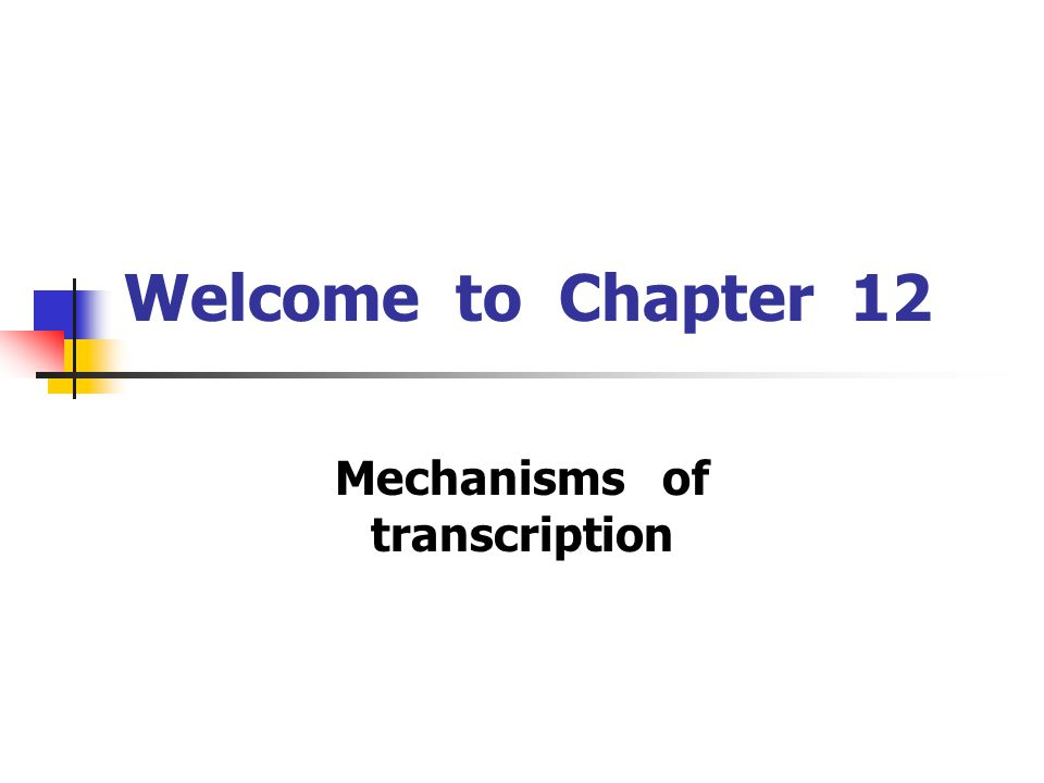 Welcome to Chapter 12 Mechanisms of transcription