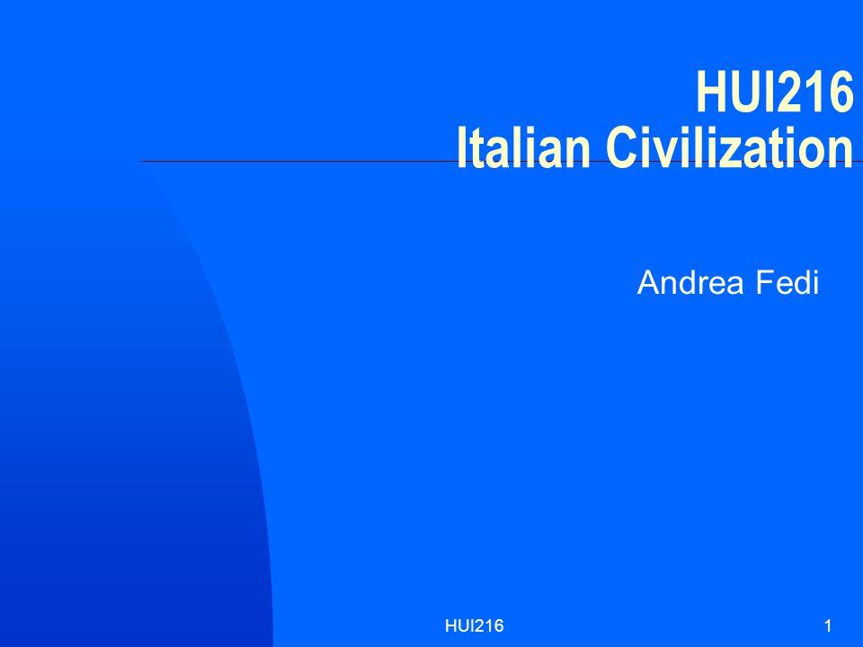 HUI2161 HUI216 Italian Civilization Andrea Fedi