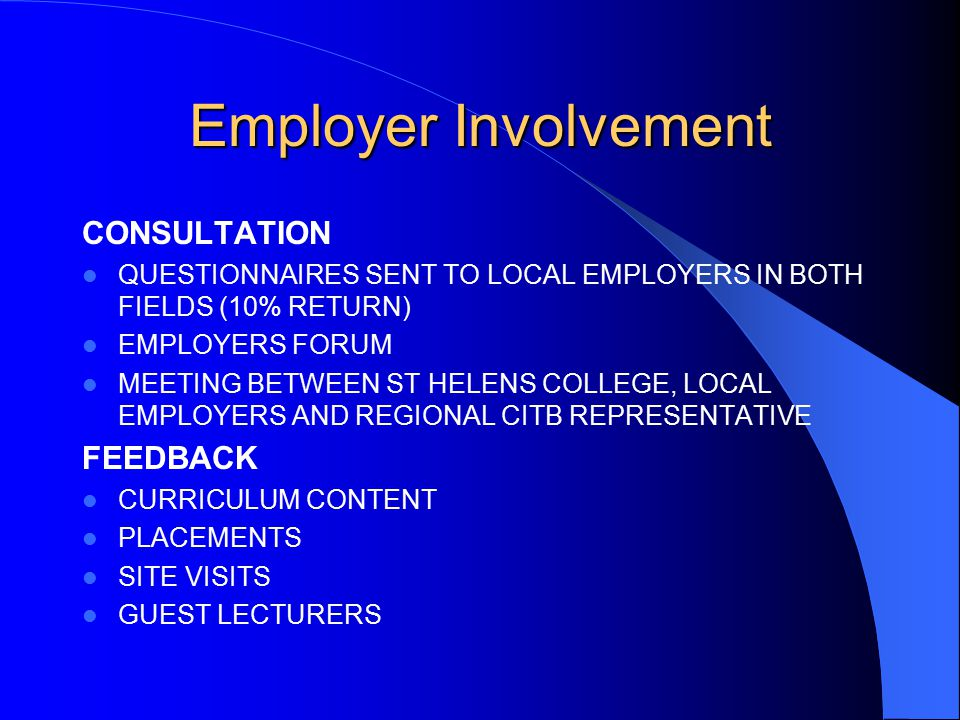 Employer Involvement CONSULTATION QUESTIONNAIRES SENT TO LOCAL EMPLOYERS IN BOTH FIELDS (10% RETURN) EMPLOYERS FORUM MEETING BETWEEN ST HELENS COLLEGE, LOCAL EMPLOYERS AND REGIONAL CITB REPRESENTATIVE FEEDBACK CURRICULUM CONTENT PLACEMENTS SITE VISITS GUEST LECTURERS