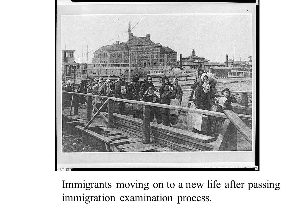 Immigrants moving on to a new life after passing immigration examination process.