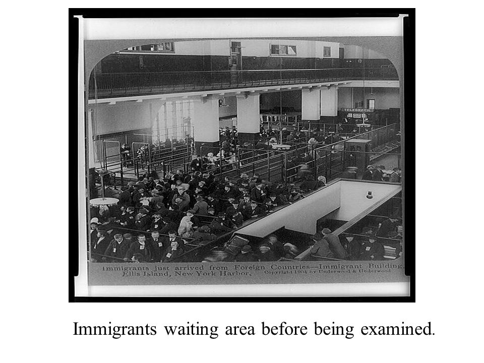 Immigrants waiting area before being examined.