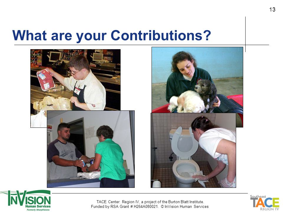 13 What are your Contributions? TACE Center: Region IV, a project of the Burton Blatt Institute. Funded by RSA Grant # H264A080021. © InVision Human S