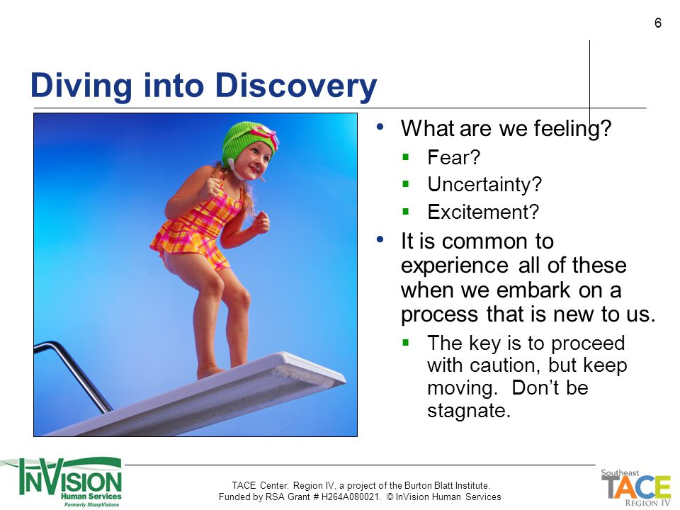 6 Diving into Discovery What are we feeling.  Fear.