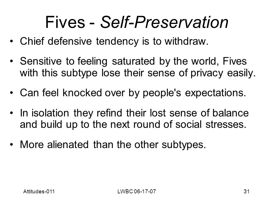 Attitudes-011LWBC 06-17-0732 Fives - Self-Preservation May hide in books, live alone or need their own room where they can close themselves off.