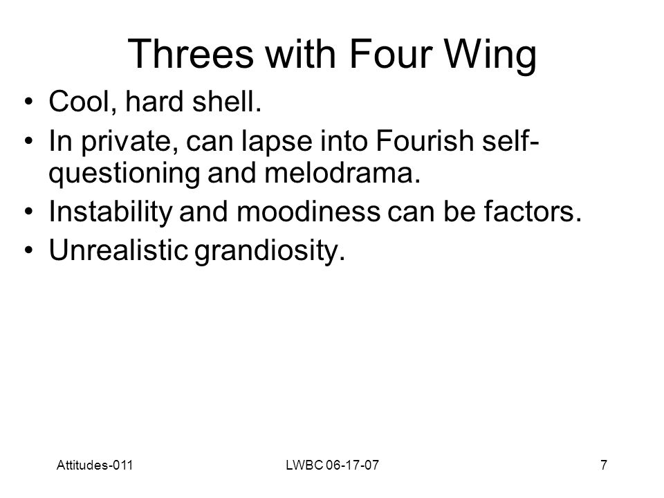 Attitudes-011LWBC 06-17-077 Threes with Four Wing Cool, hard shell.