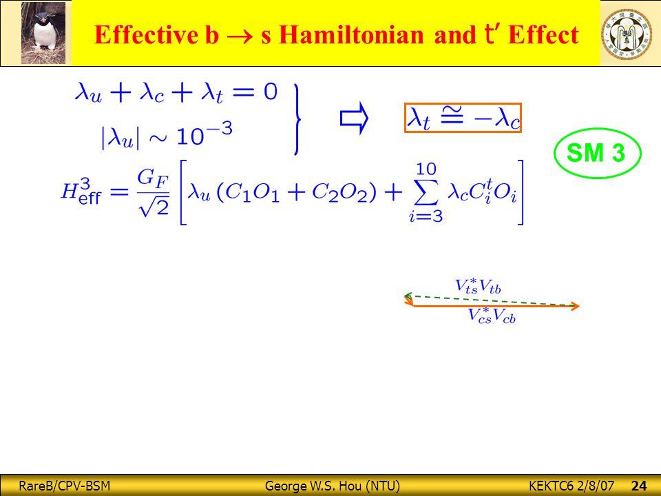 RareB/CPV-BSM George W.S. Hou (NTU) KEKTC6 2/8/07 24 SM 3 Effective b  s Hamiltonian and t' Effect